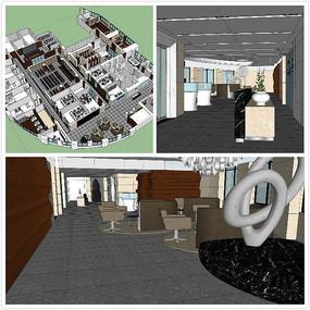 大型办公室鸟瞰su草图大师模型 全图