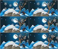 冬季来临圣诞节动画背景视频