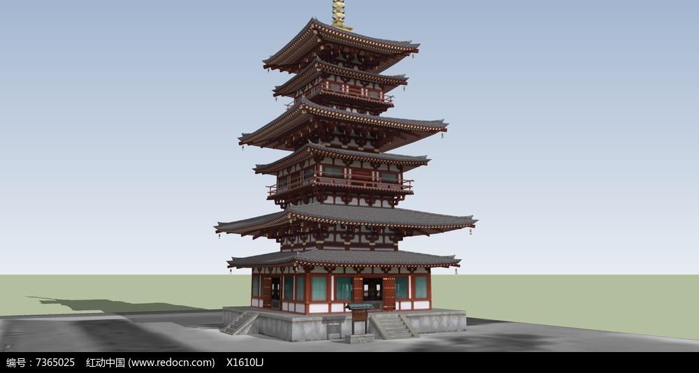 方形古建塔楼图片
