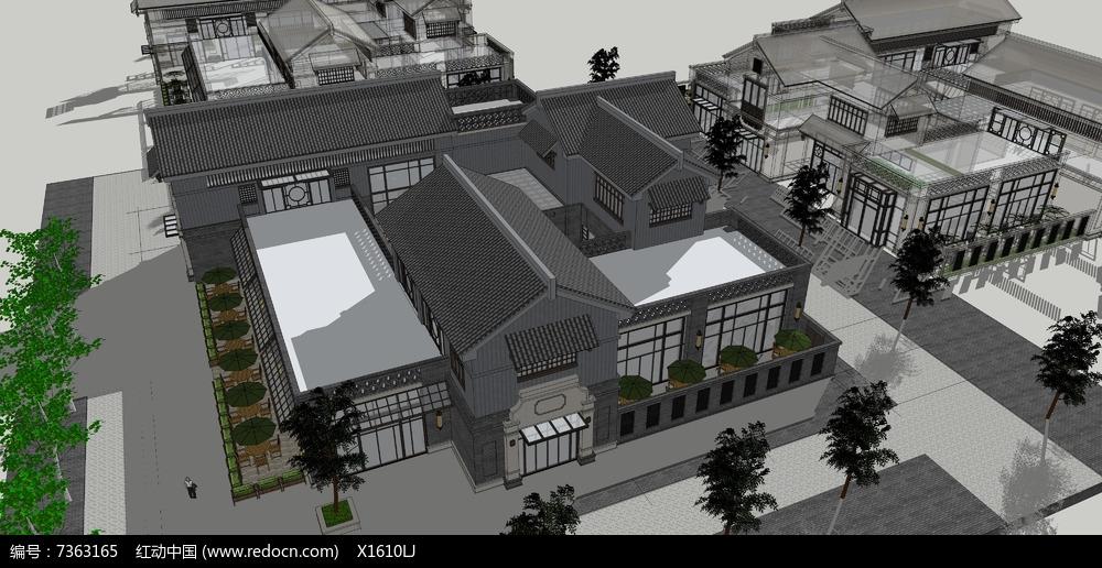 古建住宅建筑模型图片