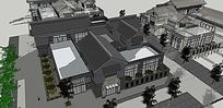 古建住宅建筑模型