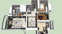 首层别墅室内家装skp草图设计效果图