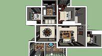 中式风格室内家装su草图skp设计效果图