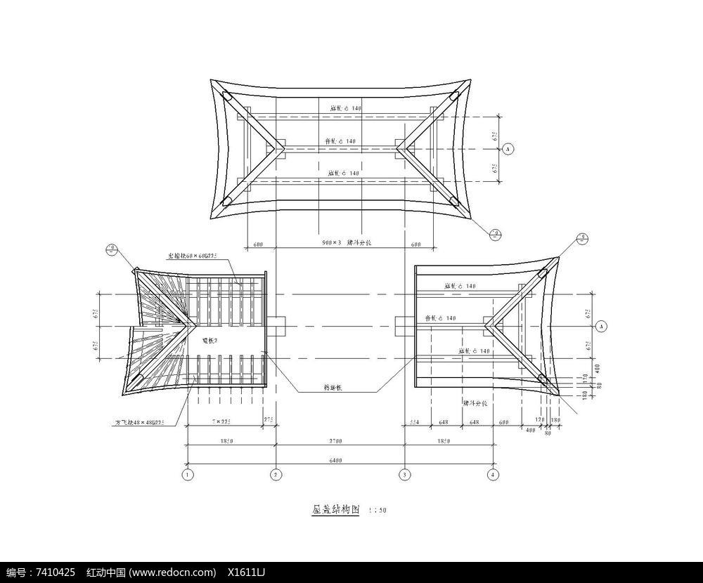 古建筑大门屋顶细节图