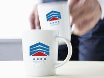 蓝色房屋建筑logo