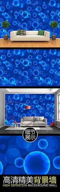 蓝色梦幻光影水泡连续图案背景墙