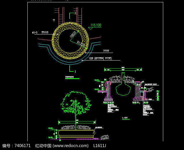 欧式圆形坐凳树池施工图图片