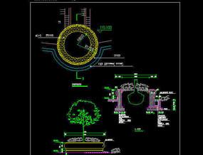 欧式圆形坐凳树池施工图 dwg