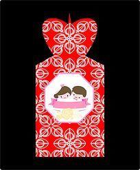 红色娃娃糖盒设计