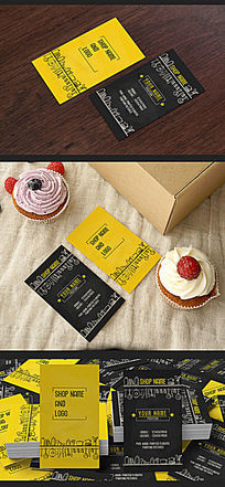 蛋糕面包食品店名片设计