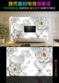 淡雅3D玉雕玫瑰心形电视背景墙