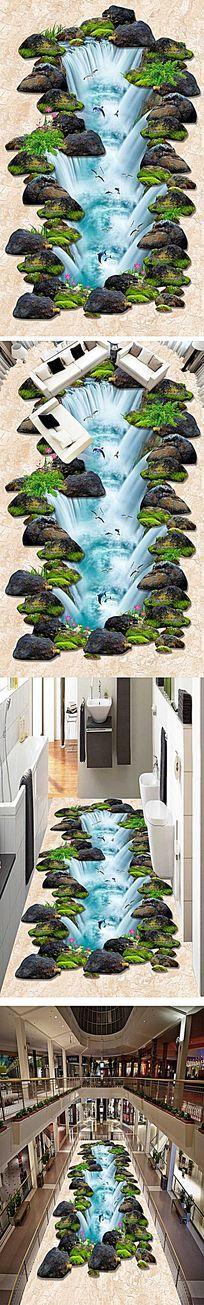 高清流水生财海豚3D户外地画地板