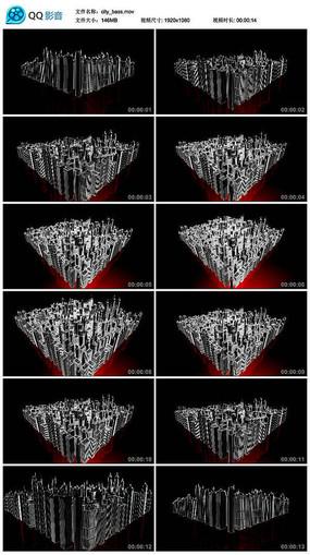 红色霓虹灯城市夜晚建筑三维模型led视频素材