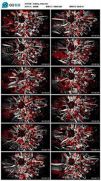 红色霓虹灯三维城市夜晚建筑模型led视频素材