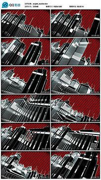红色三维霓虹灯城市夜晚建筑模型led视频素材