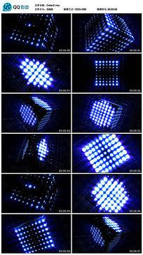 蓝色方块放射几何图形旋转闪烁led视频素材