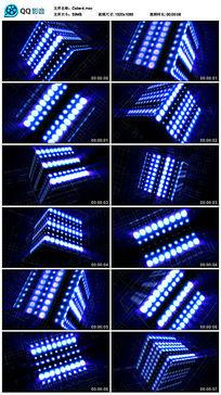 led蓝色方块放射几何图形旋转闪烁led视频素材
