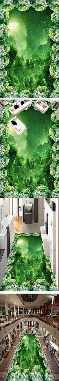 奇幻梦幻森林浴室厨房3d地板地贴