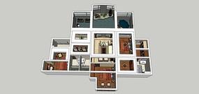 全房新中式复式草图大师模型,附带施工图