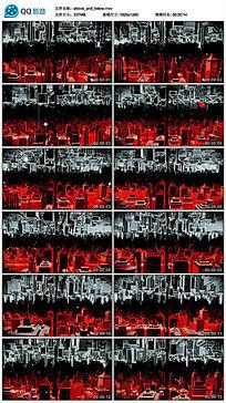 三维红色霓虹灯城市夜晚建筑模型led视频素材