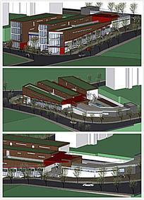现代简约校园风格幼儿园 SU模型
