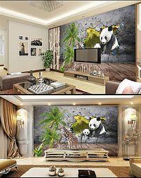 椰树墙外熊猫立体背景墙
