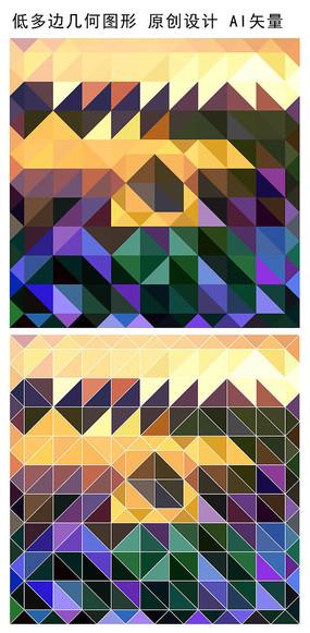 抽象低多边形印花图案