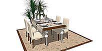欧式餐桌餐具搭配室内植物景观SU模型