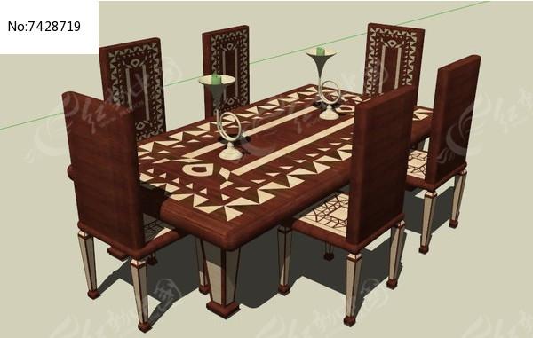 欧式风格木制餐桌椅su模型图片