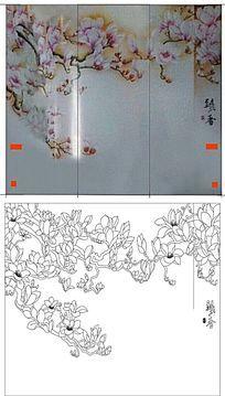 飘香玉兰花朵雕刻图案