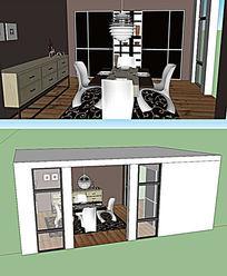 现代的餐厅装修设计SKP模型