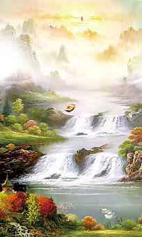 中国风油画背景墙