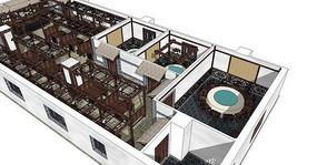 中式仿古餐厅酒店SU模型