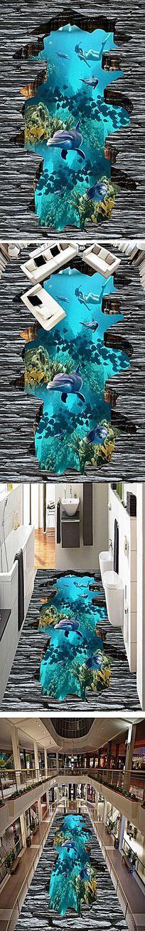 海洋世界海豚3D立体画地画地砖