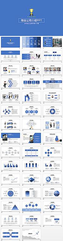 蓝色简约物业公司介绍PPT模板