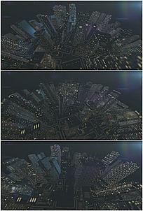立体地球夜景城市旋转万花筒视频