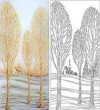 森林房子风景雕刻图案