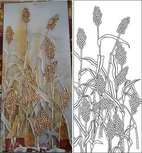 叶子果子麦子果树雕刻图案