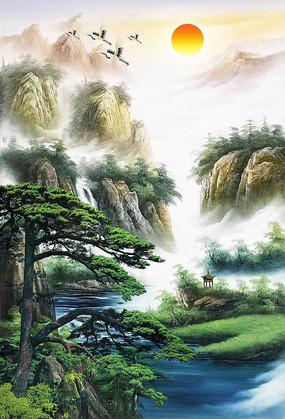 中式油画玄关背景墙