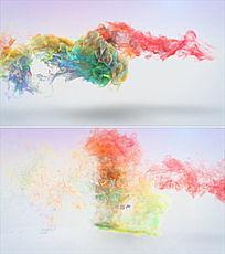 中国风彩色水墨烟雾logo演绎ae模板