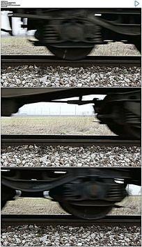 火车轮子驶过铁轨实拍视频素材