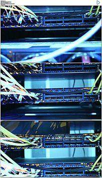 计算机机房网线和信号灯实拍视频素材