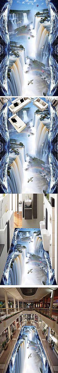 瀑布河流3D立体地板地画