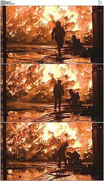 消防员救火实拍视频素材