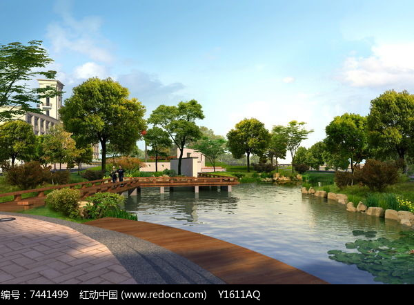 滨水观景空间效果图图片