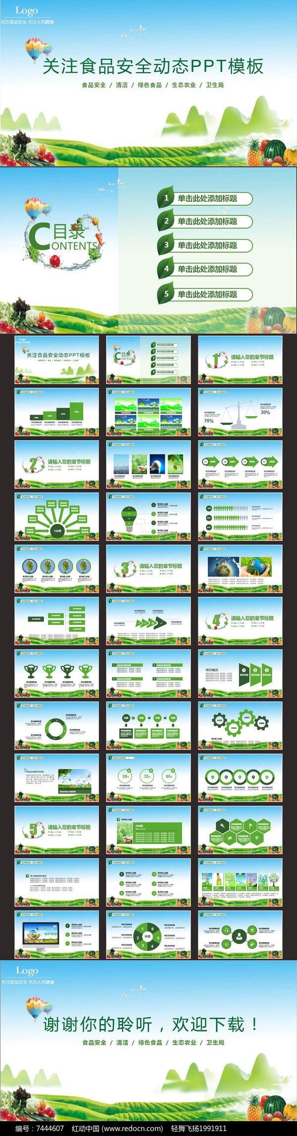 关注食品安全动态PPT模板图片