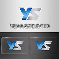 蓝色字母大气logo