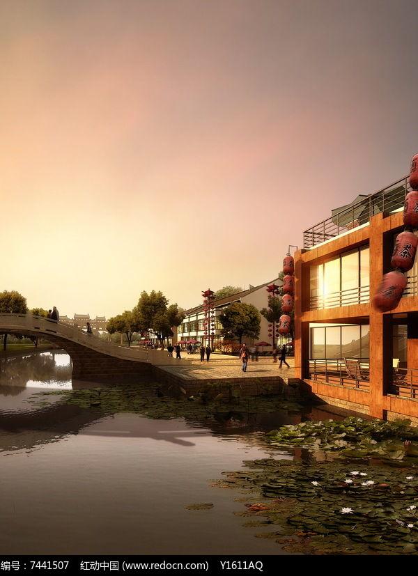 中式滨水景观效果图图片