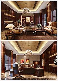 办公区间豪华装修3D模型与效果图(含材质、灯光、渲染参数)