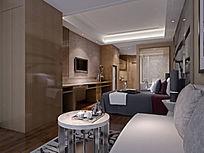 宾馆酒店简装修3D模型设计与效果图(含材质、灯光、渲染参数)